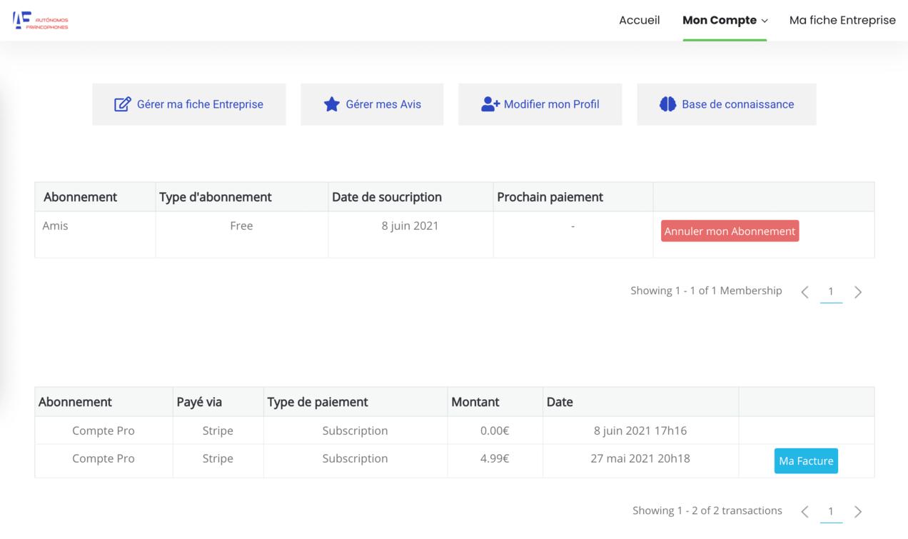 Autonomo compte client